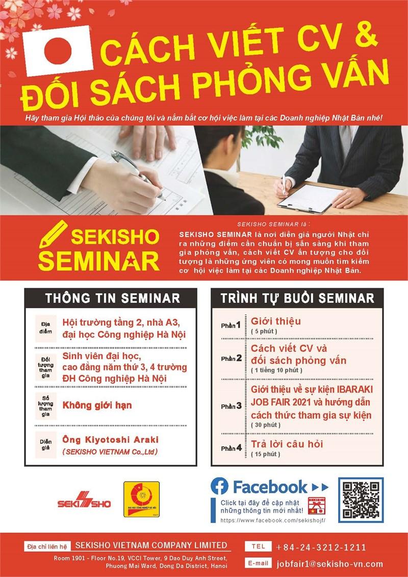 Hội thảo cơ hội việc làm, định hướng, tập huấn kỹ năng viết CV, đối sách phỏng vấn vào các doanh nghiệp Nhật Bản của Công ty Sekisho