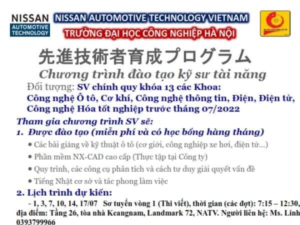 Thông báo tổ chức tuyển sinh lớp kỹ sư tài năng của Công ty TNHH Nissan Automotive technology Khóa 8 năm học 2021-2022 dành cho SV ĐH K13